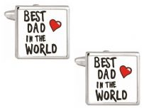 Dalaco 90-1089 Best Dad in the World Rhodium Plated Cufflinks